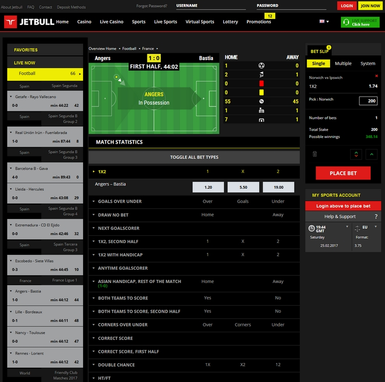 Jetbull Live Betting Offers