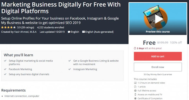 [100% Off] Marketing Business Digitally For Free With Digital Platforms Worth 199,99$