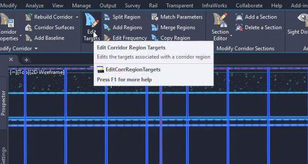 Edit corridor region targets in Civil 3D