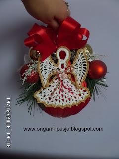 aniołek, na szydełku, świeta, boże narodzenie, wigilia, ozodoba, bombka 15 cm,