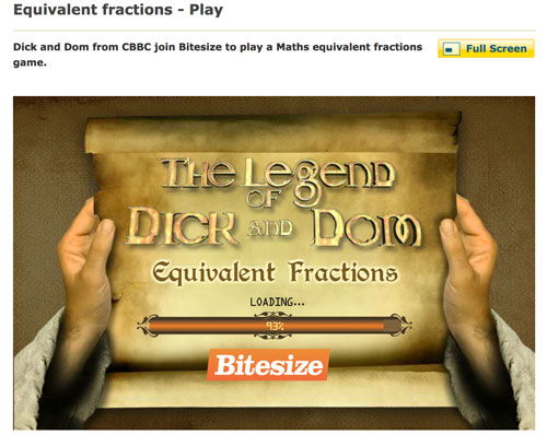 The Legend of Dick and Dom: Equivalent fractions