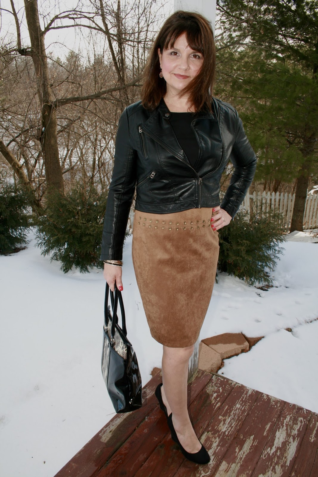 How To Style a Brown Suede Skirt | Amy's Creative Pursuits