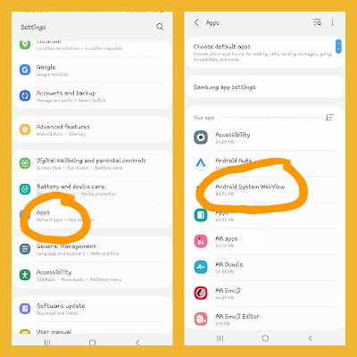 how to find android system webview