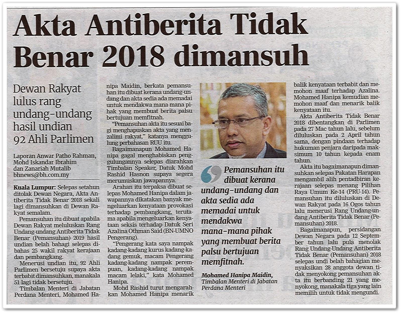 Akta Antiberita Tidak Benar 2018 dimansuh - Keratan akhbar Berita Harian 10 Oktober 2019