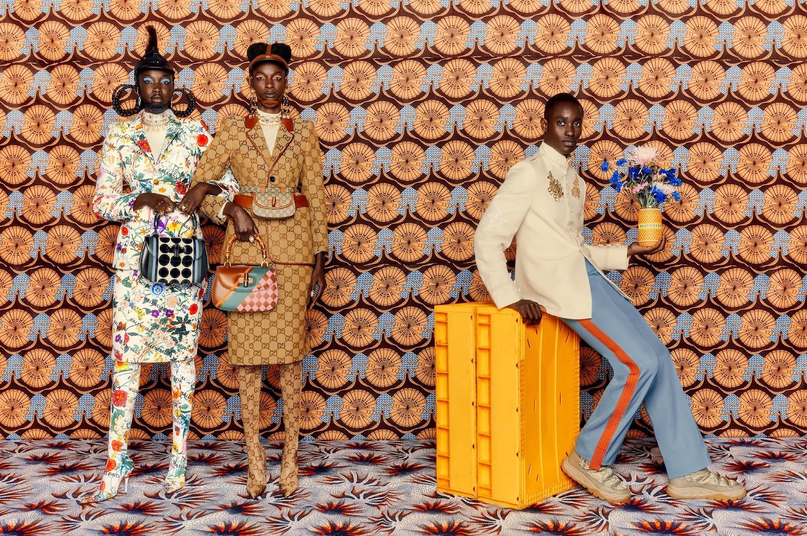 SMILE: Adhel Bol, Shade Akinbobola, & Charles Oduro in Elle UK October 2021 by Leonce Raphael Agbodjelou