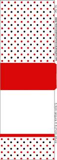 Etiqueta Tic Tac para imprimir gratis de Lunares Rojos y Negros.