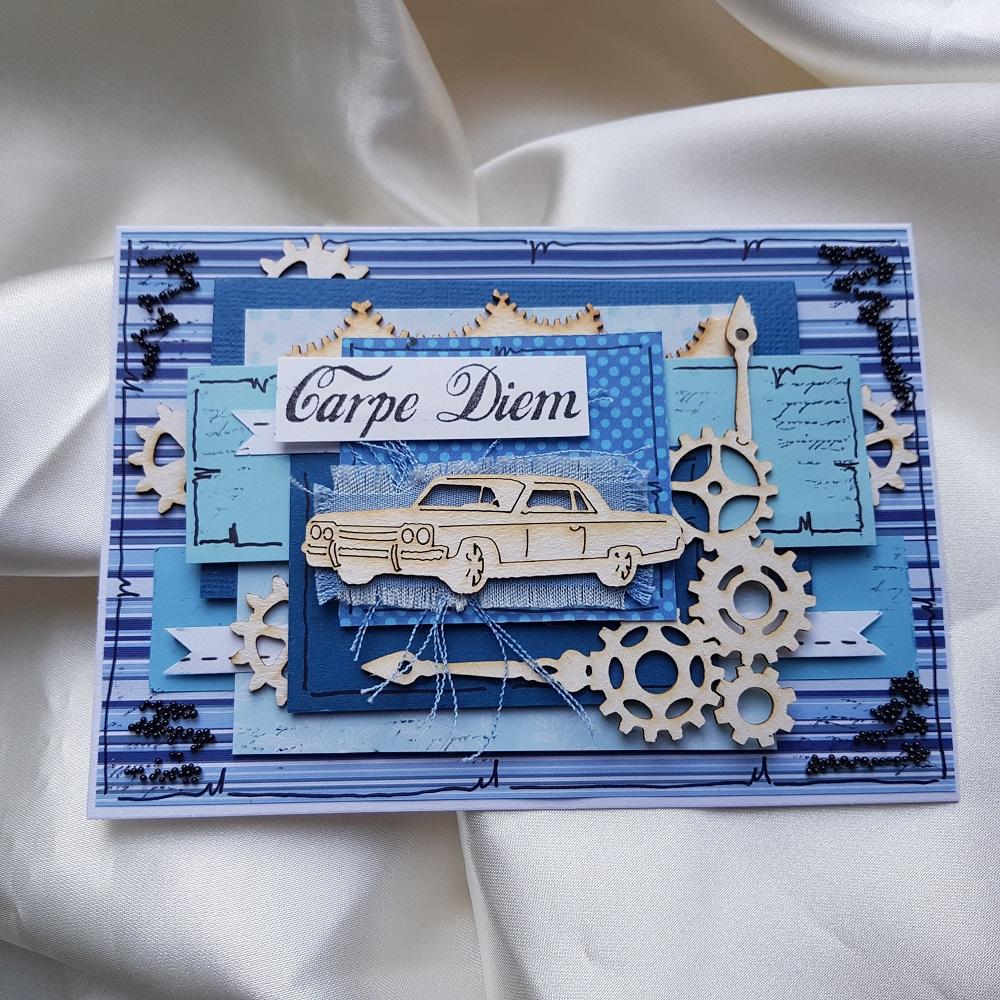 Kartka męska z samochodem od Papelia
