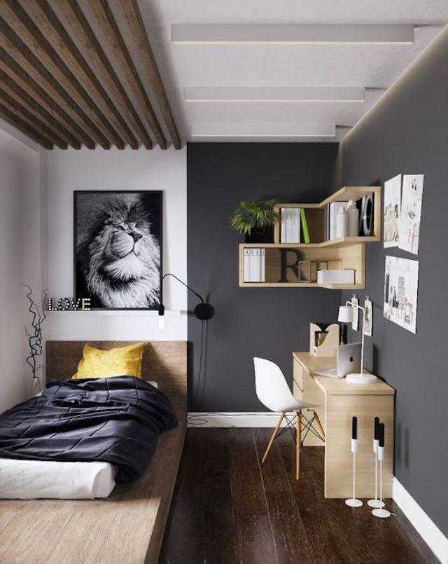 Trucos para decorar dormitorios de adolescentes, dormitorio en gris, blanco y madera