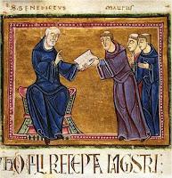 San Benito de Nursia entrega su regla a los monjes