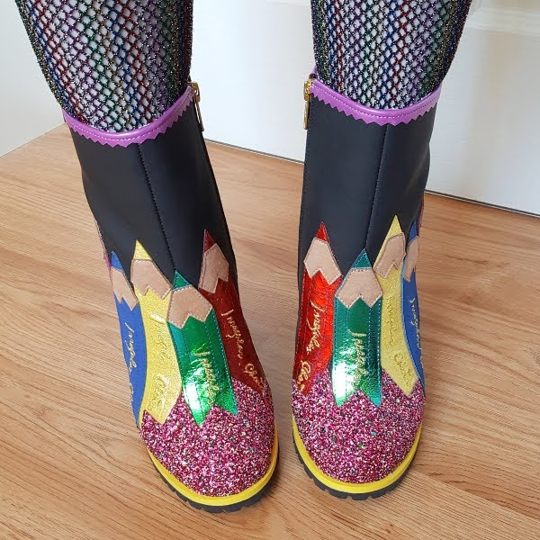 wearing colourful ankle boots with chalkboard material and pencil applique