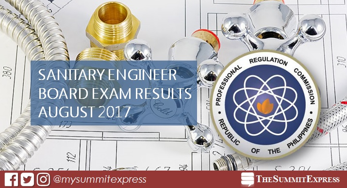 LIST OF PASSERS: August 2017 Sanitary Engineer board exam results