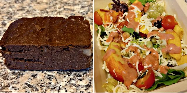 Chocolate brownie and Nectarine & broad bean salad