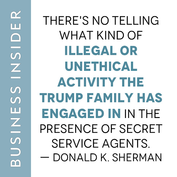 There's no telling what kind of illegal or unethical activity the Trump family has engaged in in the presence of Secret Service agents. — Donald K. Sherman, deputy director of the nonpartisan watchdog group Citizens for Responsibility and Ethics in Washington