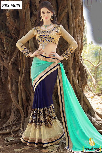 New Fancy Turquoise Color Georgette Party Wear Sarees Designer Collection For Marriage Reception