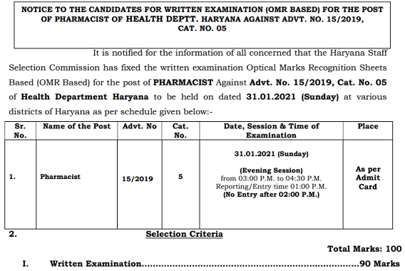 HSSC Pharmacist Exam Date notice