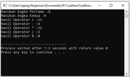 Contoh Aplikasi Penggunaan Operator C++