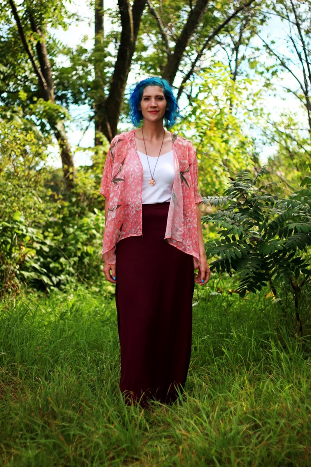 kimono with a maxi skirt