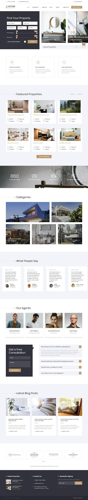 MyHome - Residential Real Estate Agency Website Design