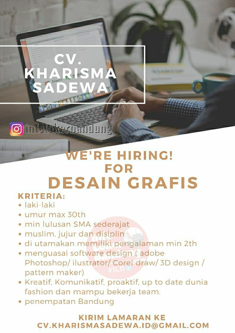 Lowongan Kerja Desain Grafis CV. Kharismadewa Bandung April 2021