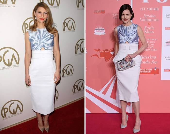 Claire Danes and Elizabeth McGovern complemented the Christian Dior two-tone outfit with similar neutral shoes , but the latter decided to add a motley clutch to the image.