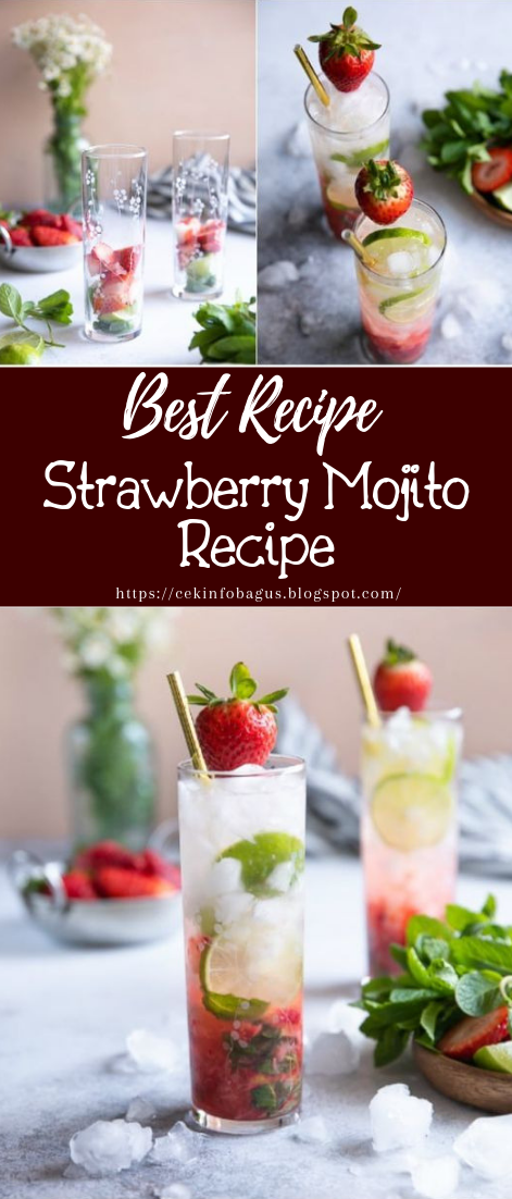 Strawberry Mojito Recipe #healthydrink #easyrecipe #cocktail #smoothie
