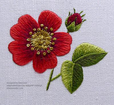 Completed needlepainted rose
