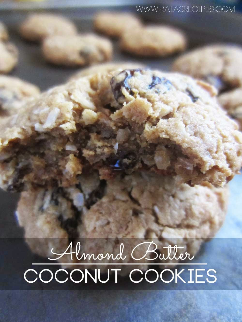 One of my family's favorite cookie recipes: Almond Butter Coconut Cookies | grain-free, sugar-free | www.RaiasRecipes.com