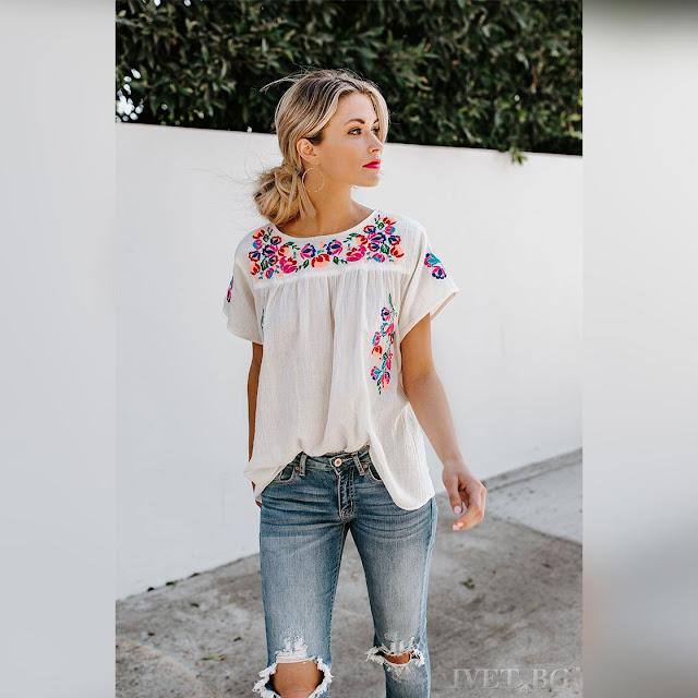 Κοντομάνικη  γυναικεία άσπρη μπλούζα LEANITA