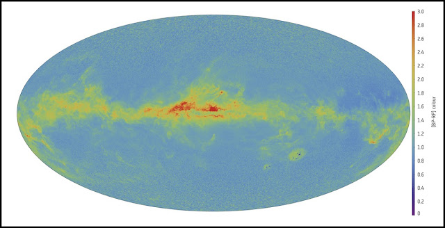 This map is a preview of Gaia's measurements of the sky in color, generated using preliminary data from the photometric instrument on board. Credit: ESA/Gaia/DPAC/CU5/CU8/DPCI/F. De Angeli, D.W. Evans, M. Riello, M. Fouesneau, R. Andrae, C.A.L. Bailer-Jones