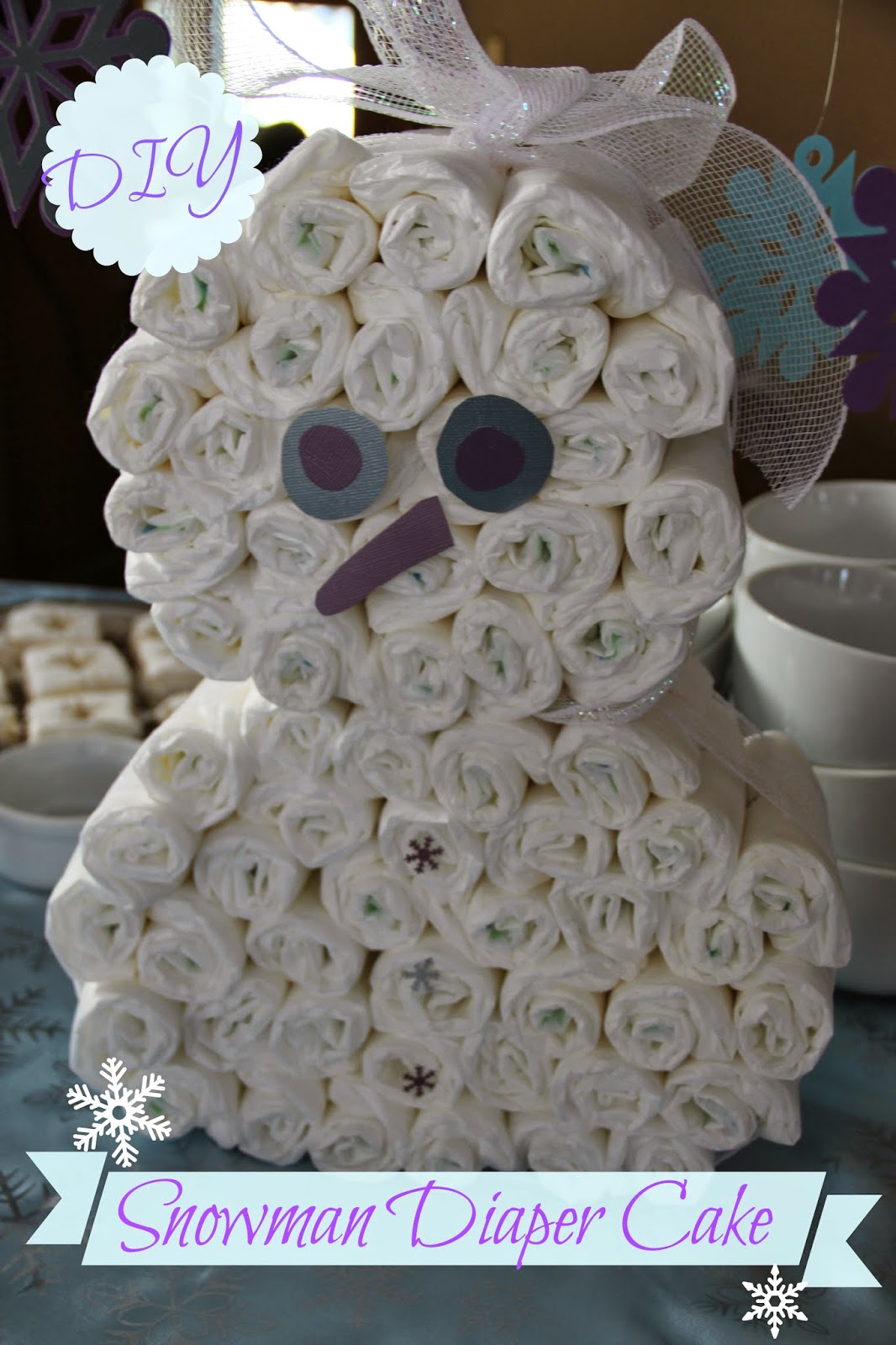 Snowman Diaper Cake Instructions