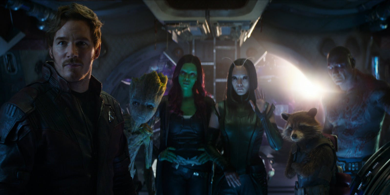 Chris Pratt as Star-Lord, Vin Diesel (voiced) as Teenage Groot, Zoe Saldana as Gamora, Pom Klementieff as Mantis, Bradley Cooper (voiced) as Rocket, Dave Bautista as Drax the Destroyer in 'Avengers: Infinity War'