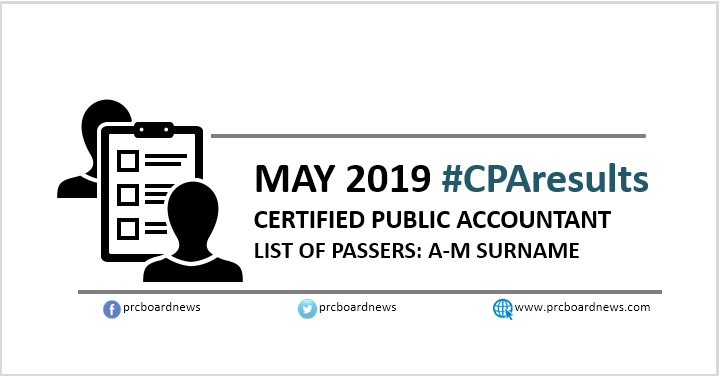A-M LIST OF PASSERS: May 2019 CPA board exam results