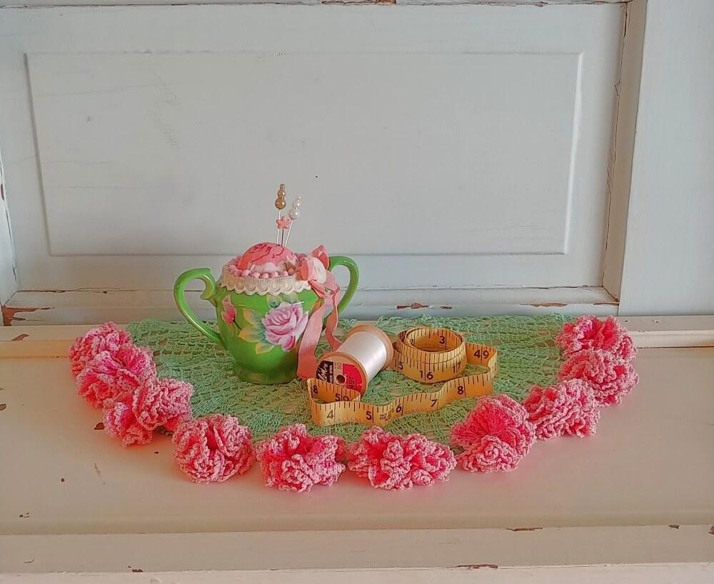 make a cute pincushion from a vintage sugar bowl