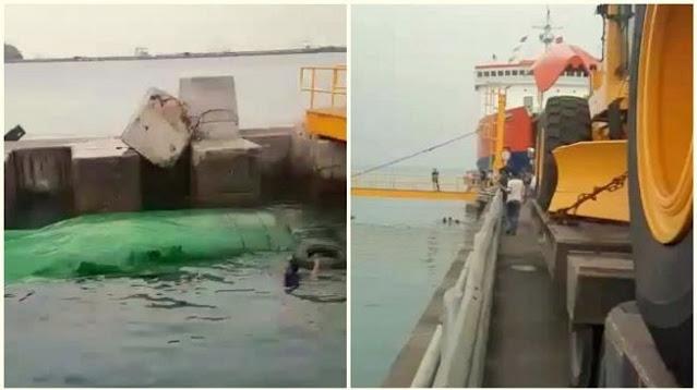 Viral Video Detik-Detik Truk Terjun ke Laut di Pelabuhan Merak