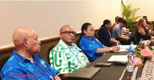 Pejabat eksekutif United Liberation Movement for West Papua (ULMWP) antara lain Rex Rumakiek (kiri), Benny Wenda (tengah) dan Paula Makabory (kanan) dalam pertemuan tingkat Senior Officials dan Menteri Luar Negari MSG di Suva, Fiji bulan 10-12 Februari 2020. Dalam pertemuan ini, West Papua menyampaikan pidato resmi yang dibacakan Ketua ULMWP, Hon. Benny Wenda. (kredit doc. ULMWP)