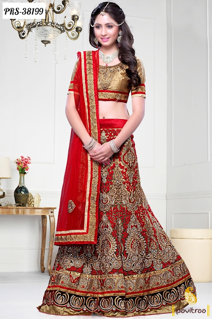 Karva Chauth and Diwali Festival Special red net designer lehenga choli for women and Ghagra choli at Pavitraa.in