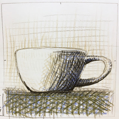 Daily Art 09-21-17 hatched mug study with gestural lines in colored pencil Canson XL Mix Media sketchbook