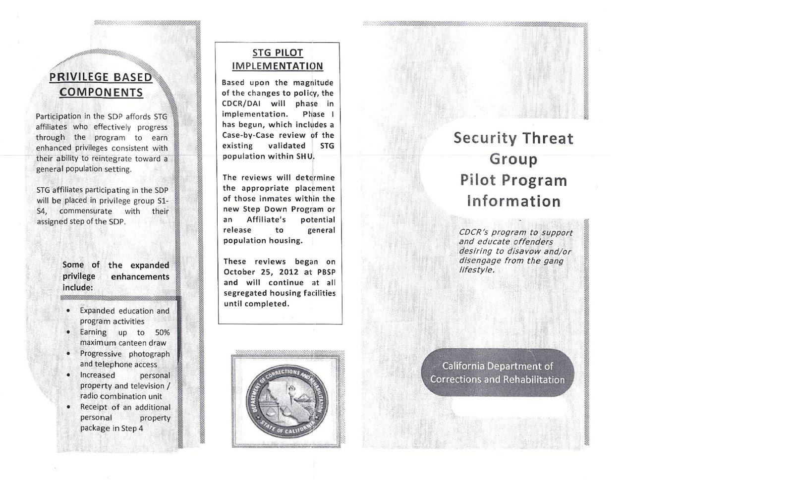 NCTT-Cor-SHU: CDCR's Security Threat Group Pilot Program