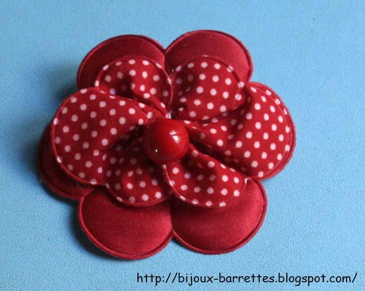 Bijoux Et Barrettes Barrette Fleur Tissu Rouge A Pois Blancs