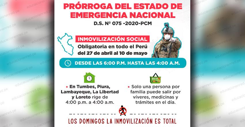 Mañana lunes se prorroga el Estado de Emergencia hasta el 10 de mayo (D. S. N° 075-2020-PCM)