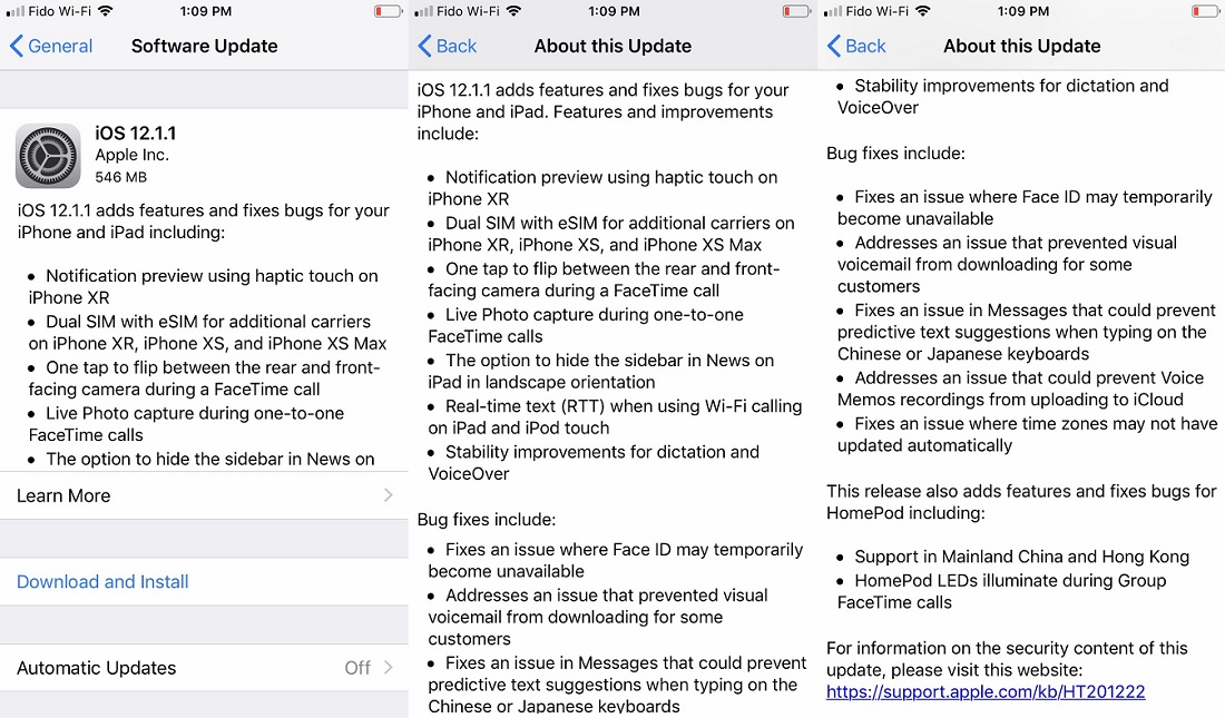 Apple iOS 12.1.1 Features Changelog