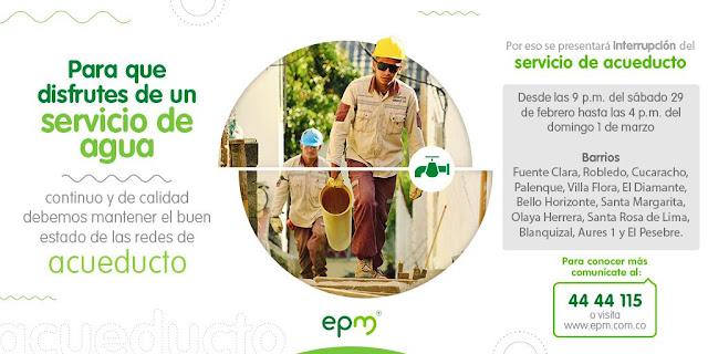 """Empresas publicas de Medellín informa, que por motivos de ampliación en el sistema de acueducto en el occidente de Medellín, es necesario interrumpir el servicio de agua potable en el circuito """"porvenir"""" En los barrios:"""