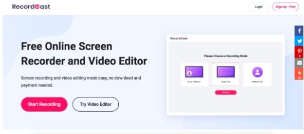 RecordCast مسجل شاشة مجاني على الإنترنت لتسجيل الشاشة