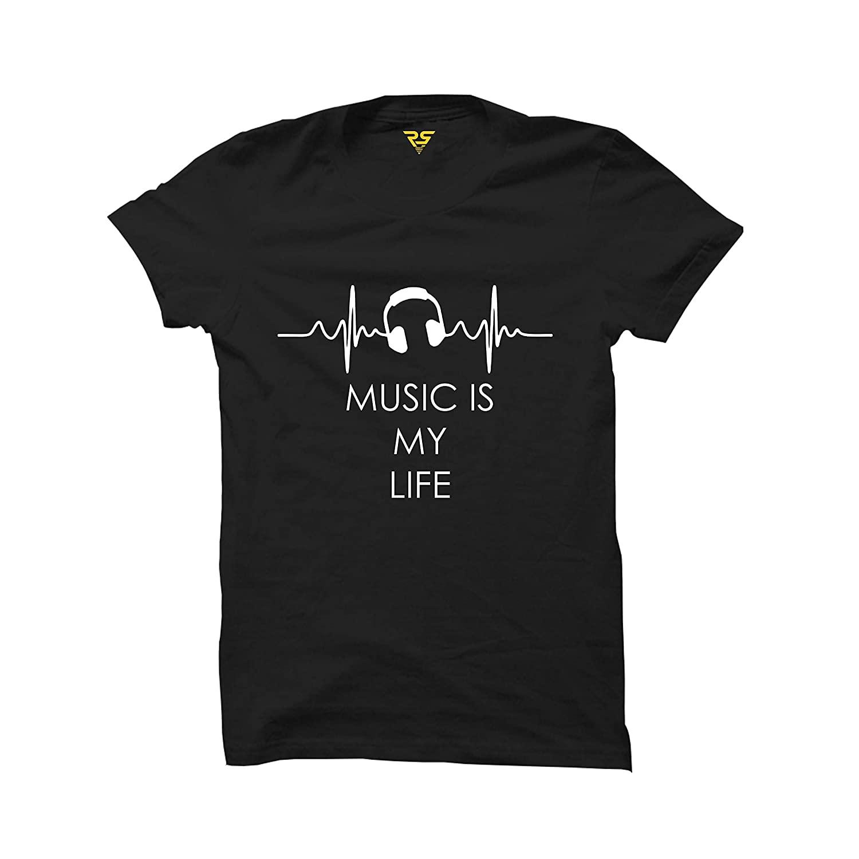 Music is My Life Printed Black Man's T-Shirts