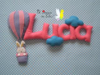 nombre-fieltro-Lucía-decoración-infantil-name-banner-elbosquedelulu-hechoamanoparati-globo-fieltro-conejito-fieltro