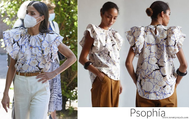 Queen Letizia wore a new double sleeve ruffle top from Psophia