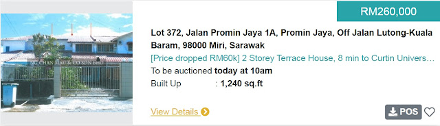 Rumah Teres 2 Tingkat di Miri Sarawak di Lelong bermula pada harga RM260 ribu