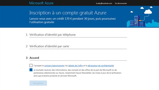 Inscription dans l'Azure Cloud - Accord