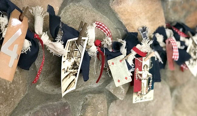 Red, White and Blue Rag Garland with Photos For the Fourth of July