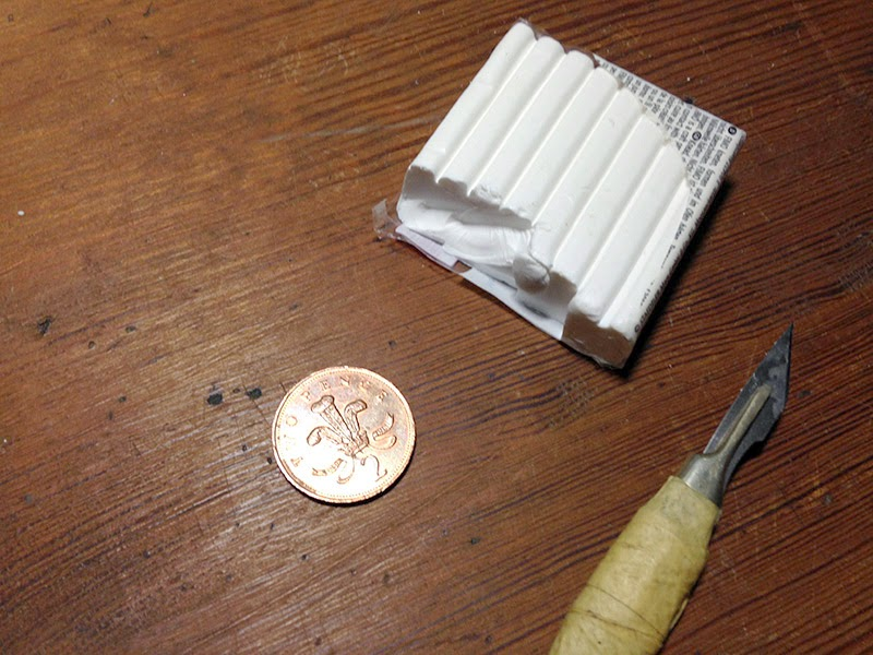 A scalpel, some fimo and a tupenny bit